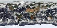 Photo satellite du monde avec les nuages