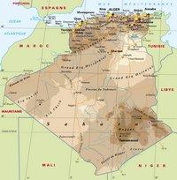 Grande carte de l'Algérie en détail