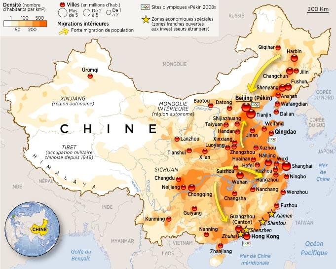Carte de la densité de population en Chine