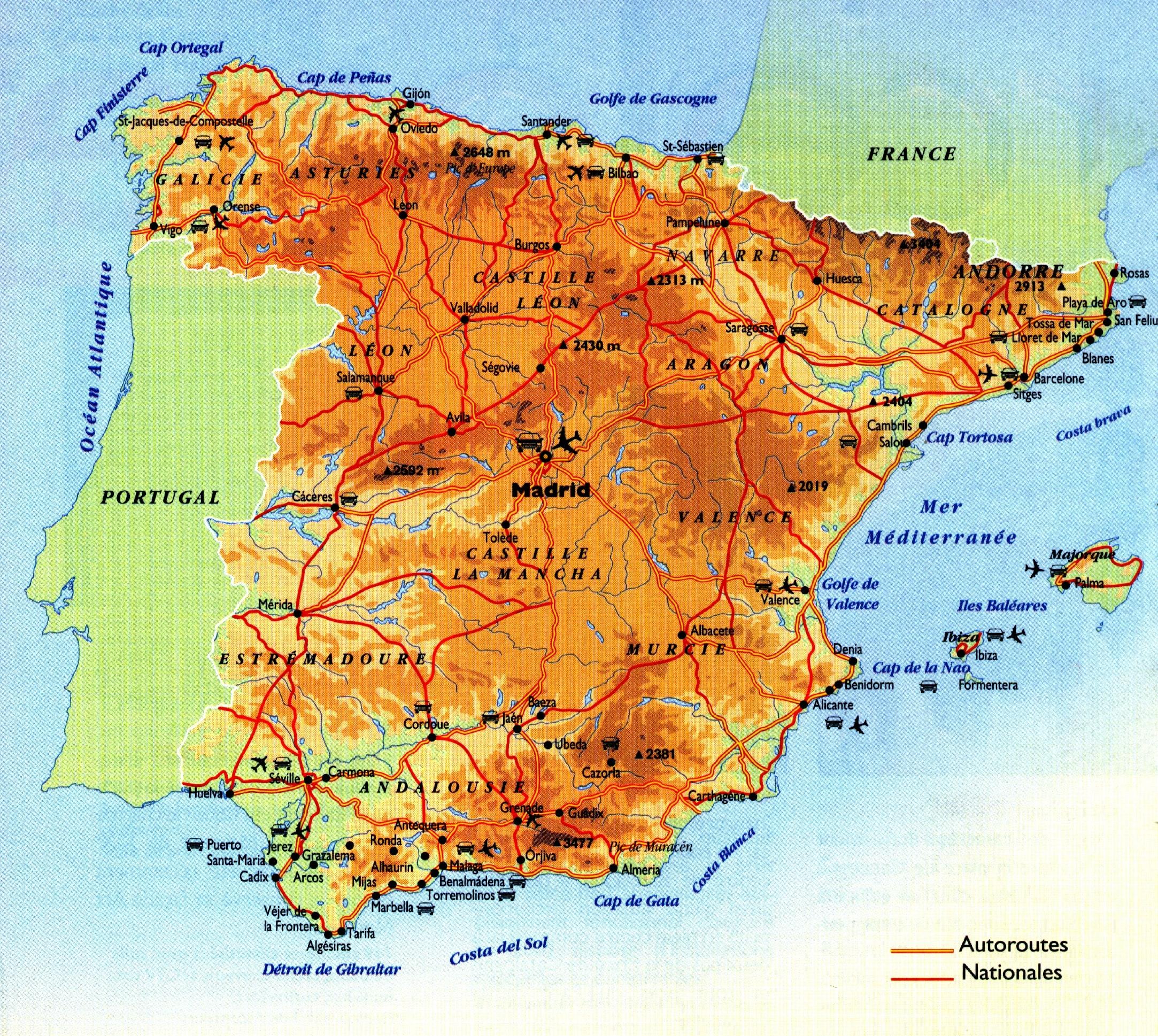 Carte Espagne Topographique.Cartograf Fr L Espagne Page 2