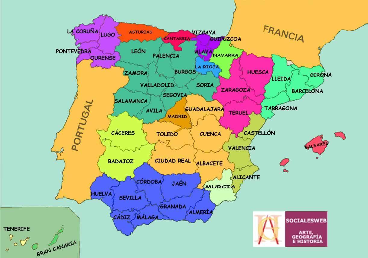 Carte De L Espagne Avec Les Provinces   tonaartsenfotografie