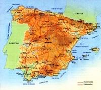 Carte de l'Espagne avec les autoroutes, les nationales, les sommets montagneux, les aéroports, le relief et les cours d'eau.