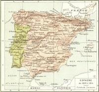 Carte de l'Espagne de 1808 à 1814