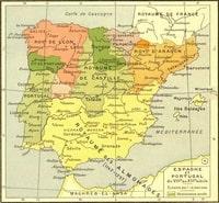 Carte de l'Espagne du 8ème au 13ème siècle
