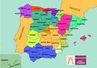 Carte des régions de l'Espagne en couleur