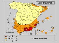 Carte des régions sismiques en Espagne
