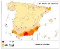 Carte des risques de tremblement de terre en Espagne.