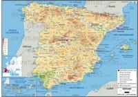 Grande carte de l'Espagne avec l'altitude en mètre, la répartition de la population, l'échelle en kilomètre.