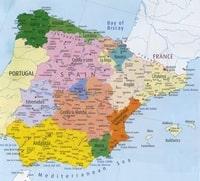 Grande carte de l'Espagne avec les régions, les villes, les rivières et les aéroports.