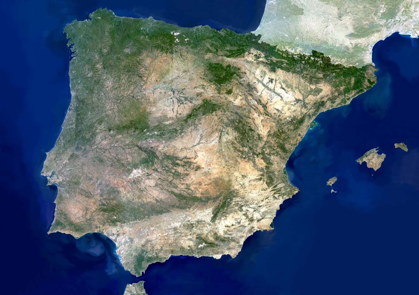 Photo satellite de l'Espagne.