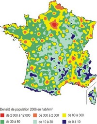 Carte de la densité de population en France.