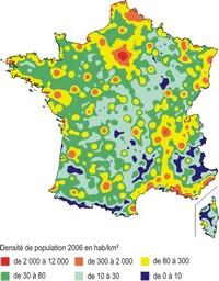 Carte de la densité de population en France.