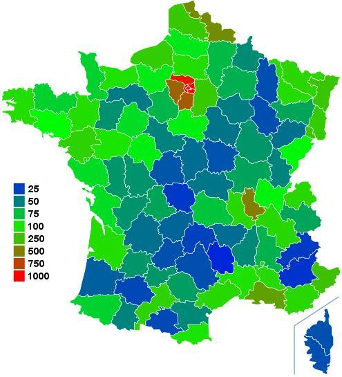 Carte de la densité par département de la France