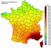 Carte de l'ensoleillement de la France