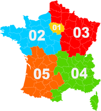 Carte des indicatifs de téléphone en France