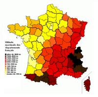 Carte de l'altitude maximale des départements français