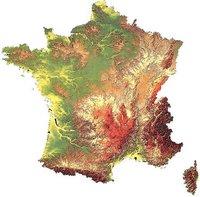 Carte du relief de la France en 3D