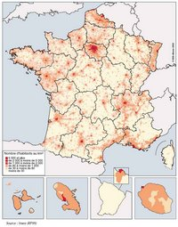 Carte de la répartition de la population en France