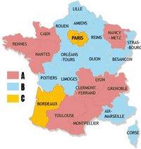Carte du découpage scolaire de la France