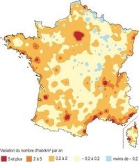 Carte de la variation de densité de population