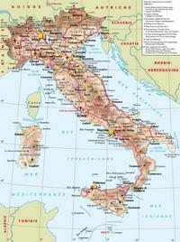 Carte des routes de l'Italie