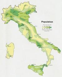 Carte de la densité de la population de l'Italie
