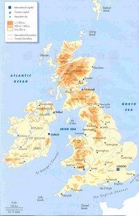 Carte du Royaume-Uni avec les villes, l'altitude en mètre, l'échelle en miles et kilomètres.