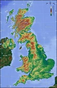 Carte topographique du Royaume Uni avec l'altitude en mètre.