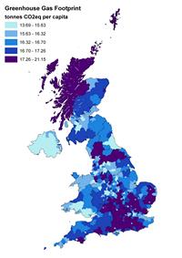 Carte des gazs à effet de serre en tonnes de CO2 émis par habitant au Royaume Uni.