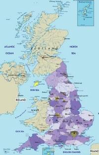 Grande carte du Royaume Uni avec les villes et les aéroports.