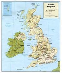 Carte du Royaume-Uni avec le relief