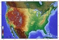 Carte des Etats-Unis avec le relief