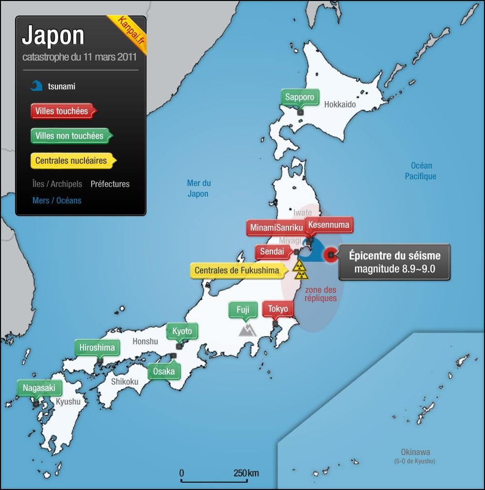 Carte du séisme, des zones des répliques et du tsunami