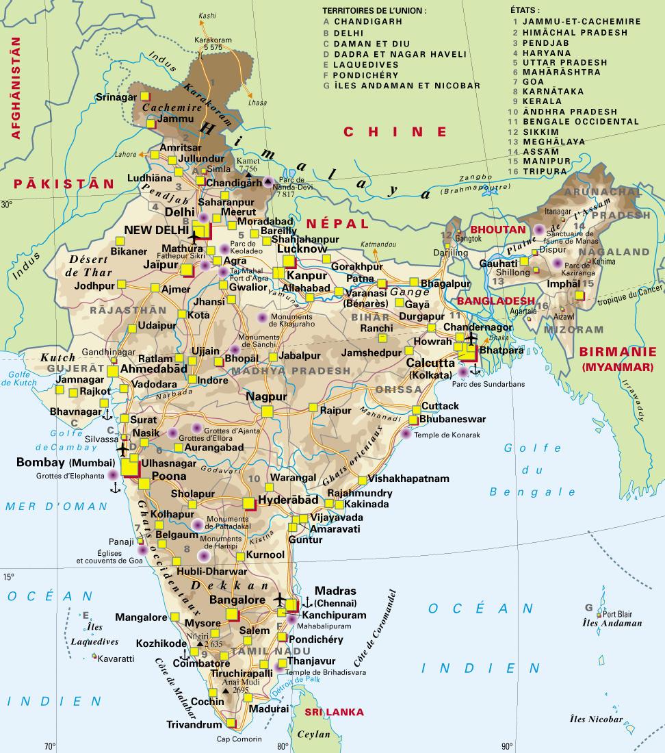 Carte Du Sud Est De Linde.Cartograf Fr L Inde