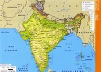 Grande carte du relief de l'Inde avec l'altitude en couleur.