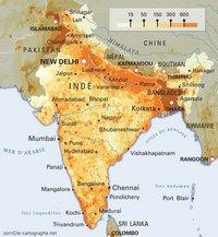 Carte de la densité de population en Inde en habitant au km²
