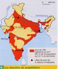 Carte des grandes villes d'Inde et de la densité de la population