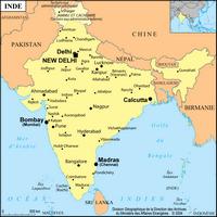 Carte de L'inde avec les villes et l'échelle