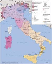 Carte de l'Italie avec les langues, les dialectes, les îlots linguistiques