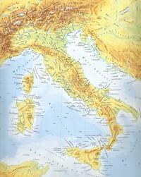 Carte de l'Italie physique avec les montagnes, les sommets montagneux, le relief et les rivières