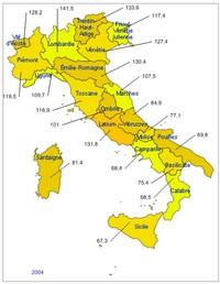 Carte d'Italie avec le PIB par habitant, 100 étant la moyenne en Europe