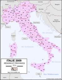 Carte de l'Italie avec les régions, les provinces et les principautés