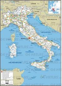 Carte de l'Italie avec les routes, les autoroutes, la taille des villes et les aéroports