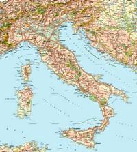 Carte d'Italie avec les routes, les villes, les lacs, les forêts et les aéroports
