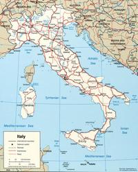 Carte Italie routière avec les routes, les autoroutes et les chemins de fer