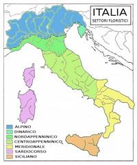 Carte de l'Italie avec les secteurs de la flore
