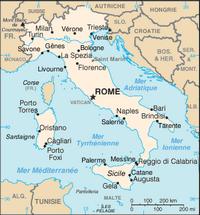 Carte de l'Italie simple avec la capitale et les principautés
