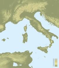 Carte de l'Italie topographique avec le relief et l'altitude en mètre