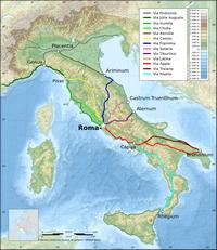 Carte de l'Italie avec les voies romaines