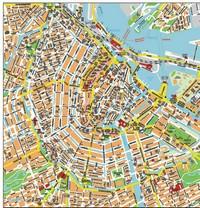 Carte détaillée du centre d'Amsterdam avec le nom des rues